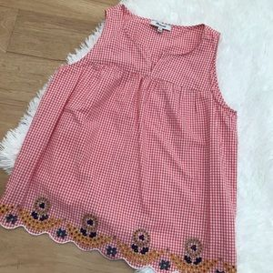 Madewell Embroidered Gingham Tank